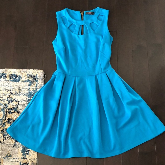 Blue Cut Out Skater Dress